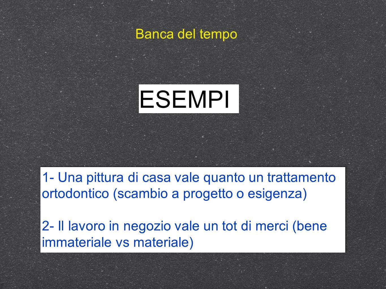 Banca del tempo ESEMPI. 1- Una pittura di casa vale quanto un trattamento ortodontico (scambio a progetto o esigenza)