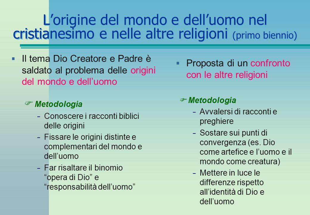 L'origine del mondo e dell'uomo nel cristianesimo e nelle altre religioni (primo biennio)