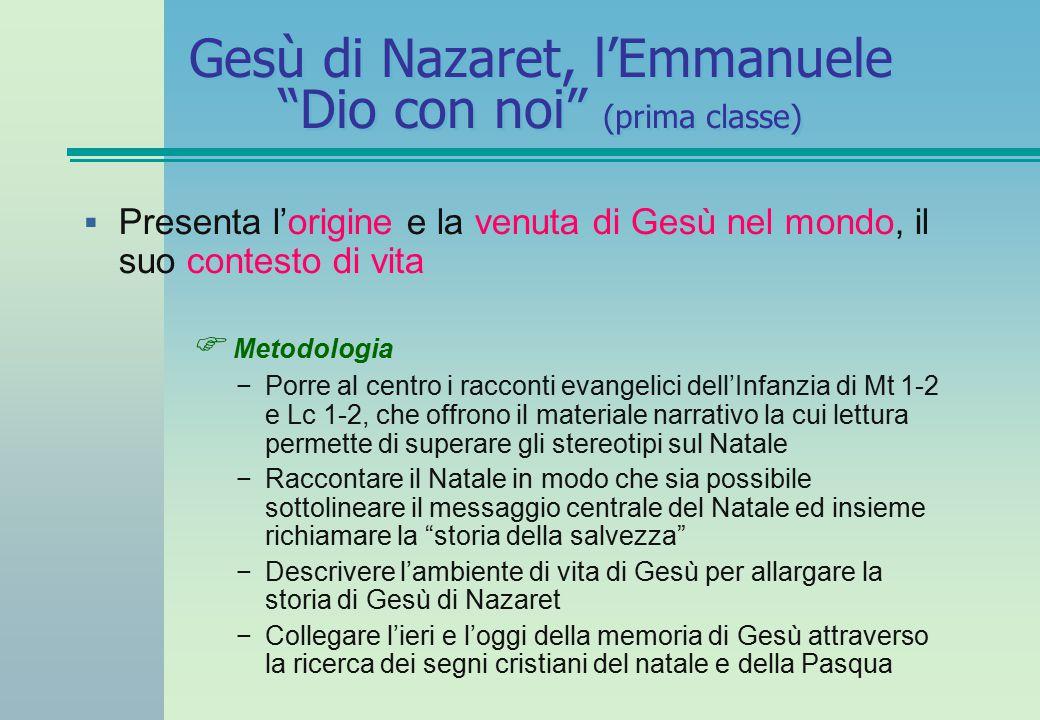 Gesù di Nazaret, l'Emmanuele Dio con noi (prima classe)