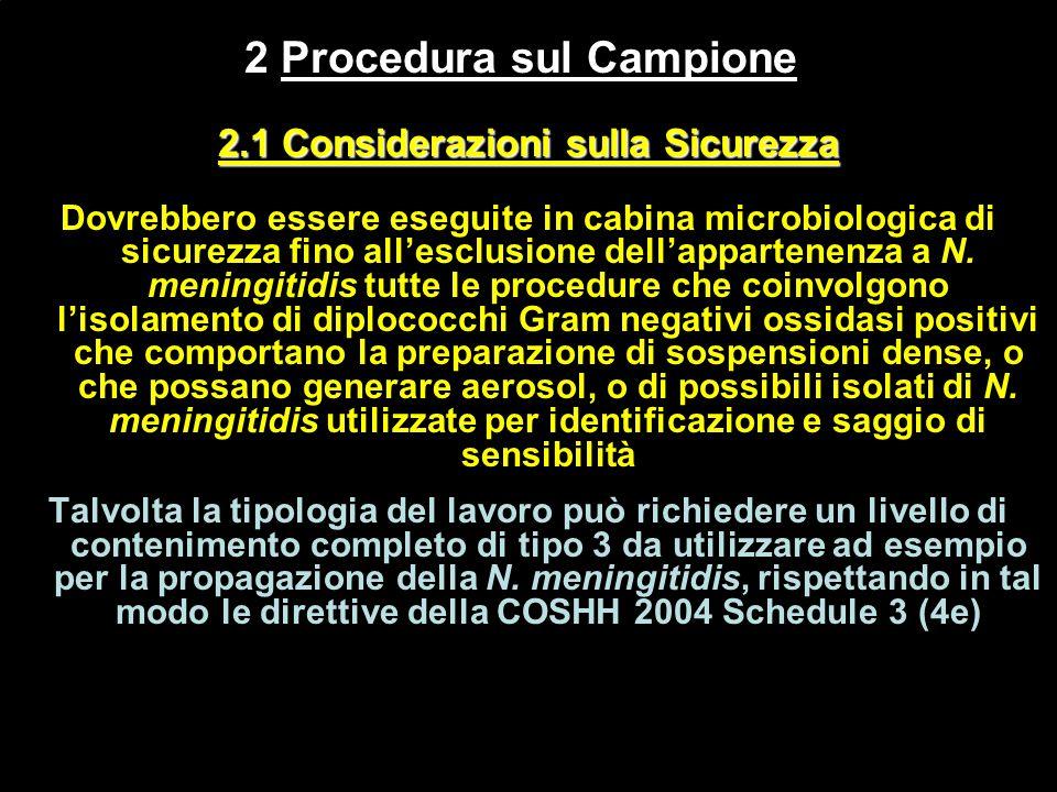 2 Procedura sul Campione 2.1 Considerazioni sulla Sicurezza