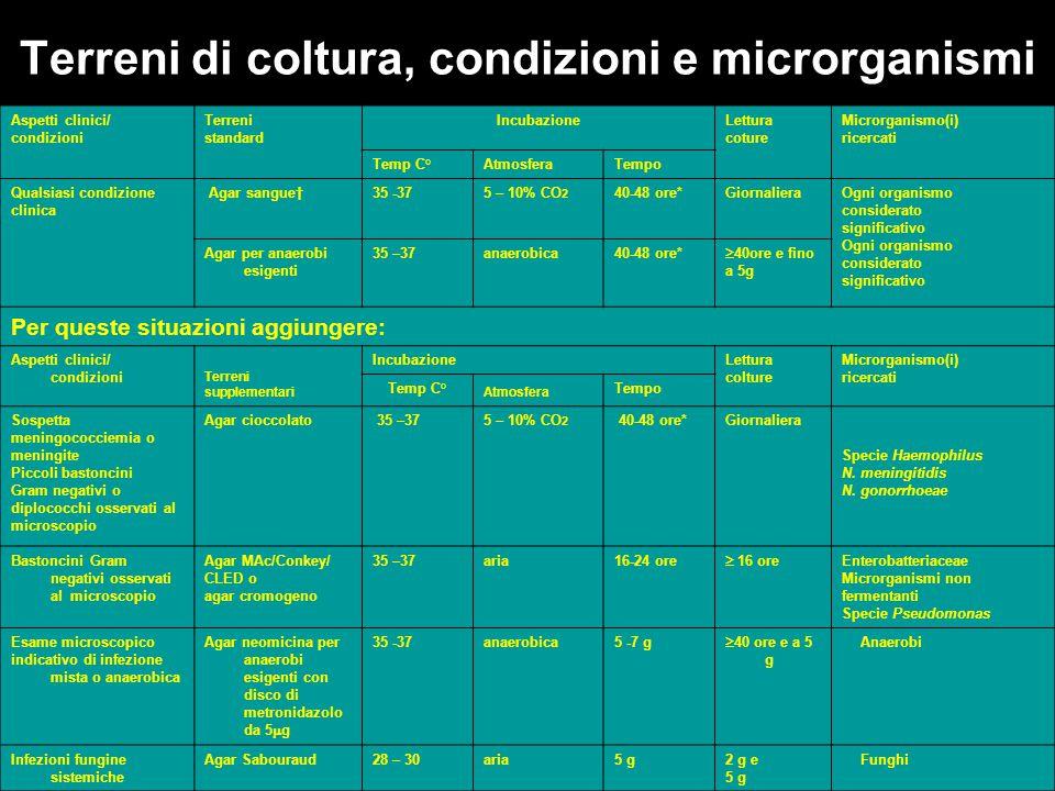 Terreni di coltura, condizioni e microrganismi