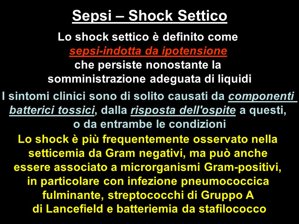 Sepsi – Shock Settico Sepsi – Shock Settico