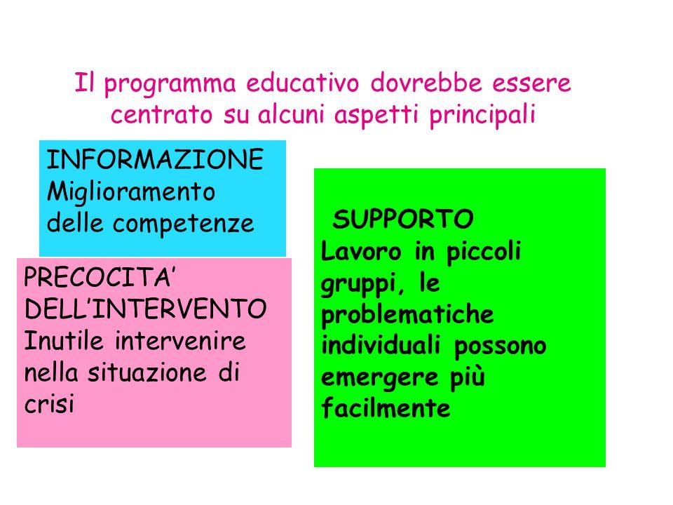 Il programma educativo dovrebbe essere centrato su alcuni aspetti principali