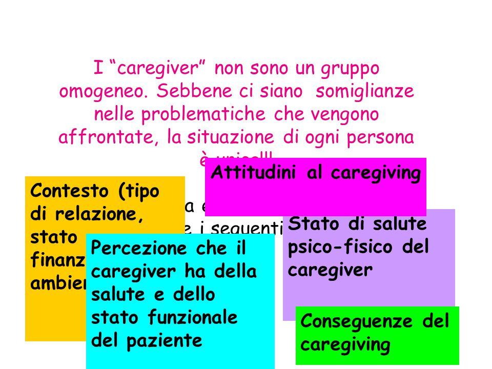 I caregiver non sono un gruppo omogeneo