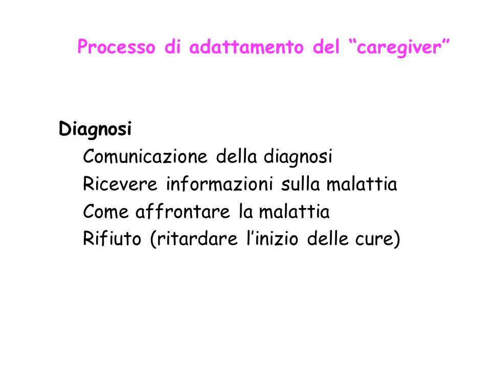 Processo di adattamento del caregiver