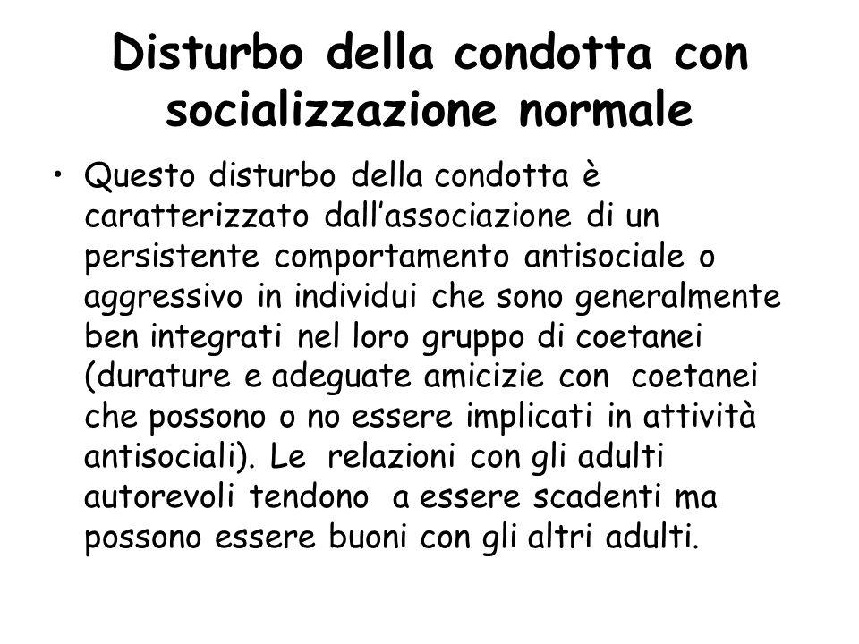 Disturbo della condotta con socializzazione normale