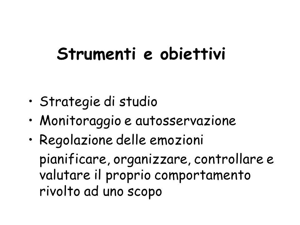 Strumenti e obiettivi Strategie di studio