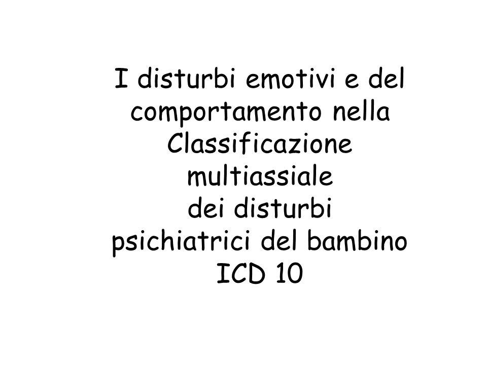 I disturbi emotivi e del comportamento nella Classificazione multiassiale dei disturbi psichiatrici del bambino ICD 10
