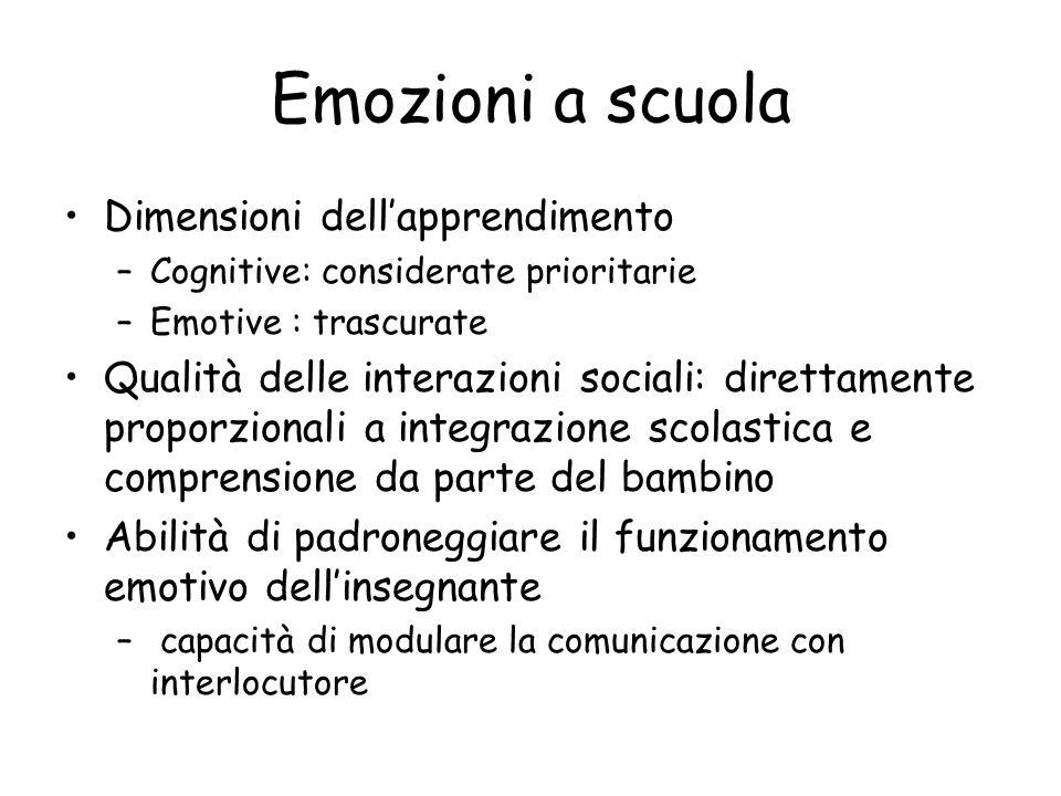 Emozioni a scuola Dimensioni dell'apprendimento