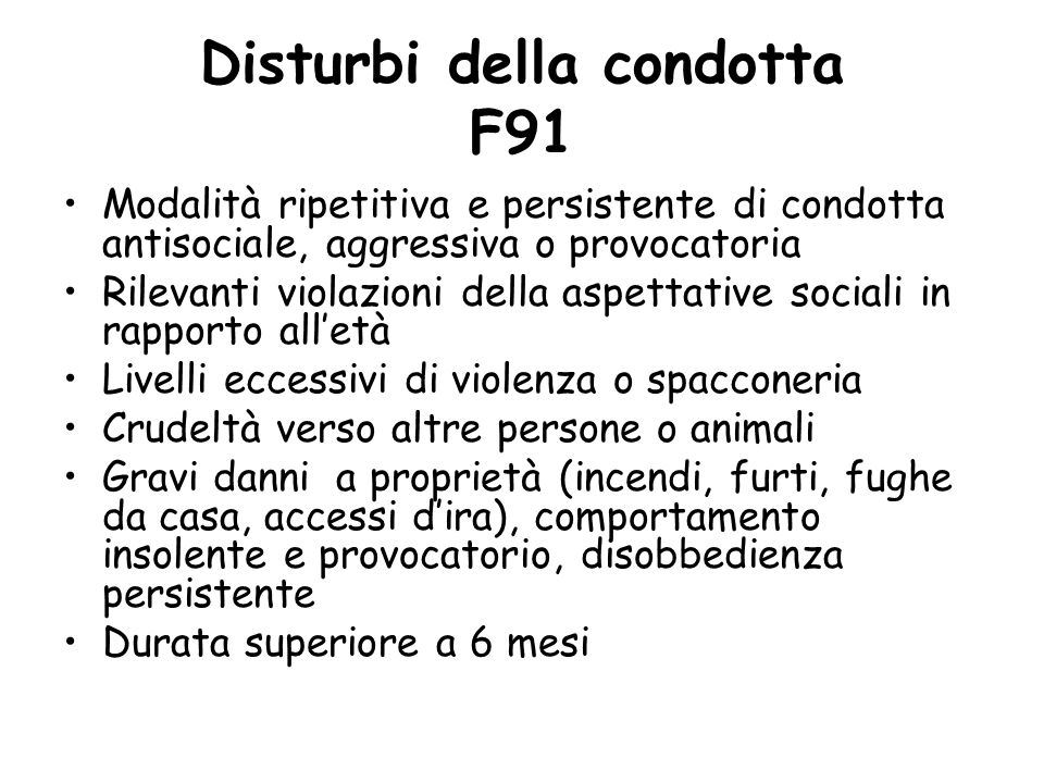 Disturbi della condotta F91