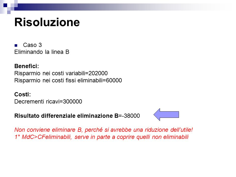 Risoluzione Caso 3 Eliminando la linea B Benefici: