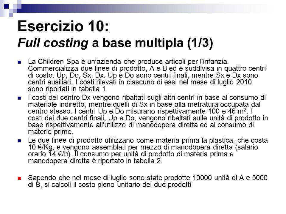 Esercizio 10: Full costing a base multipla (1/3)