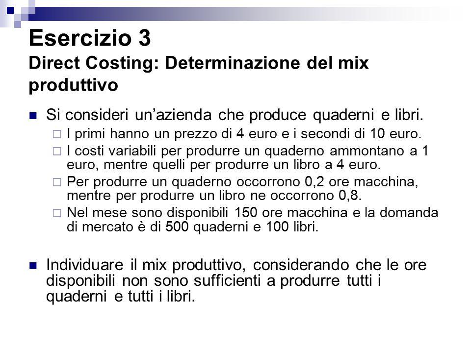 Esercizio 3 Direct Costing: Determinazione del mix produttivo