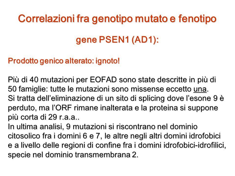 Correlazioni fra genotipo mutato e fenotipo
