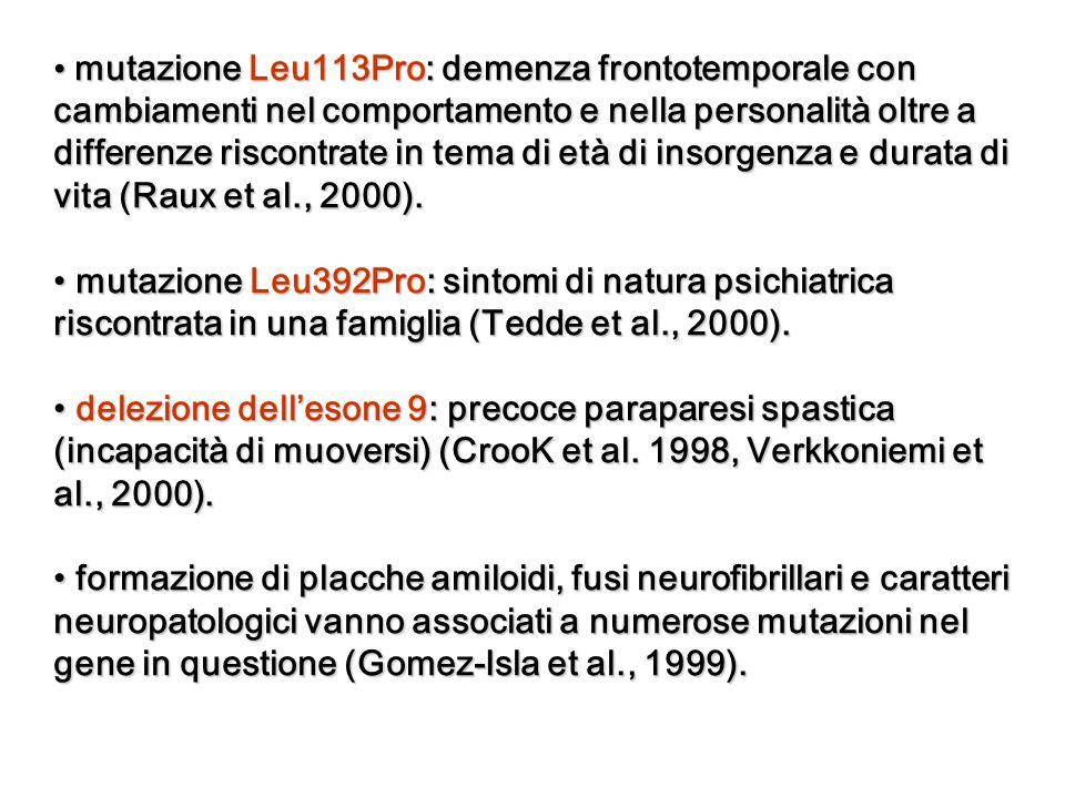mutazione Leu113Pro: demenza frontotemporale con cambiamenti nel comportamento e nella personalità oltre a differenze riscontrate in tema di età di insorgenza e durata di vita (Raux et al., 2000).