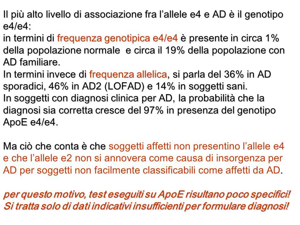 Il più alto livello di associazione fra l'allele e4 e AD è il genotipo e4/e4: