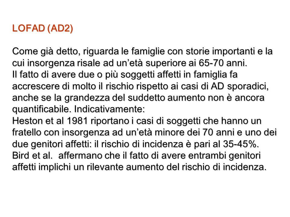 LOFAD (AD2) Come già detto, riguarda le famiglie con storie importanti e la cui insorgenza risale ad un'età superiore ai 65-70 anni.