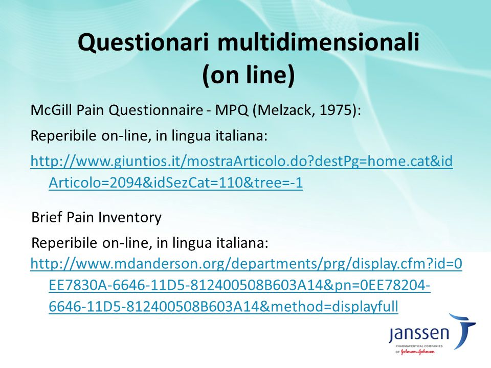 Questionari multidimensionali (on line)