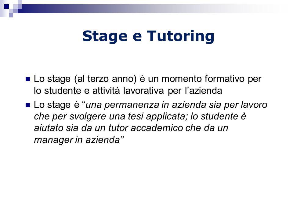 Stage e Tutoring Lo stage (al terzo anno) è un momento formativo per lo studente e attività lavorativa per l'azienda.