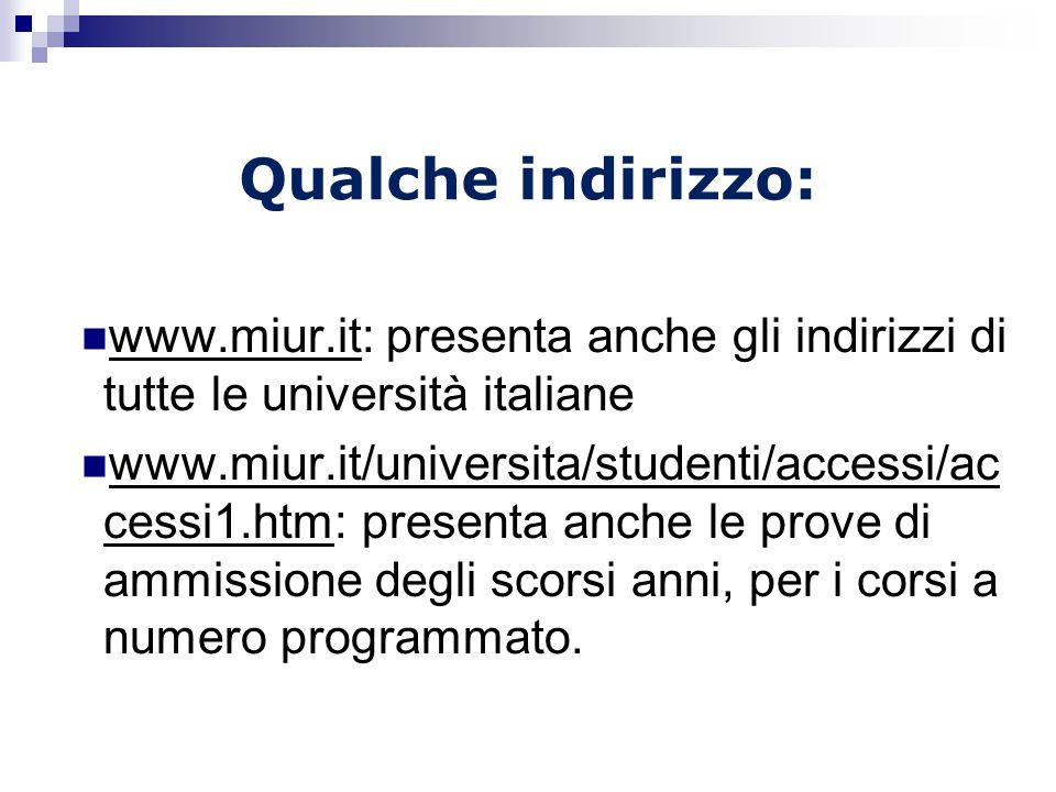 Qualche indirizzo: www.miur.it: presenta anche gli indirizzi di tutte le università italiane.