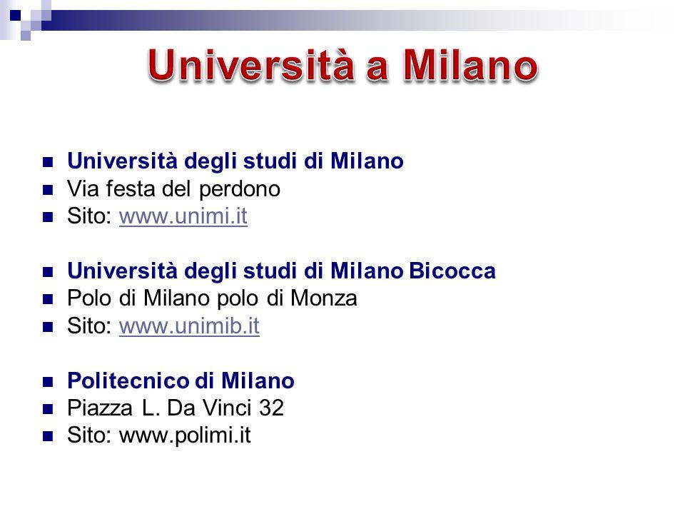 Università a Milano Università degli studi di Milano