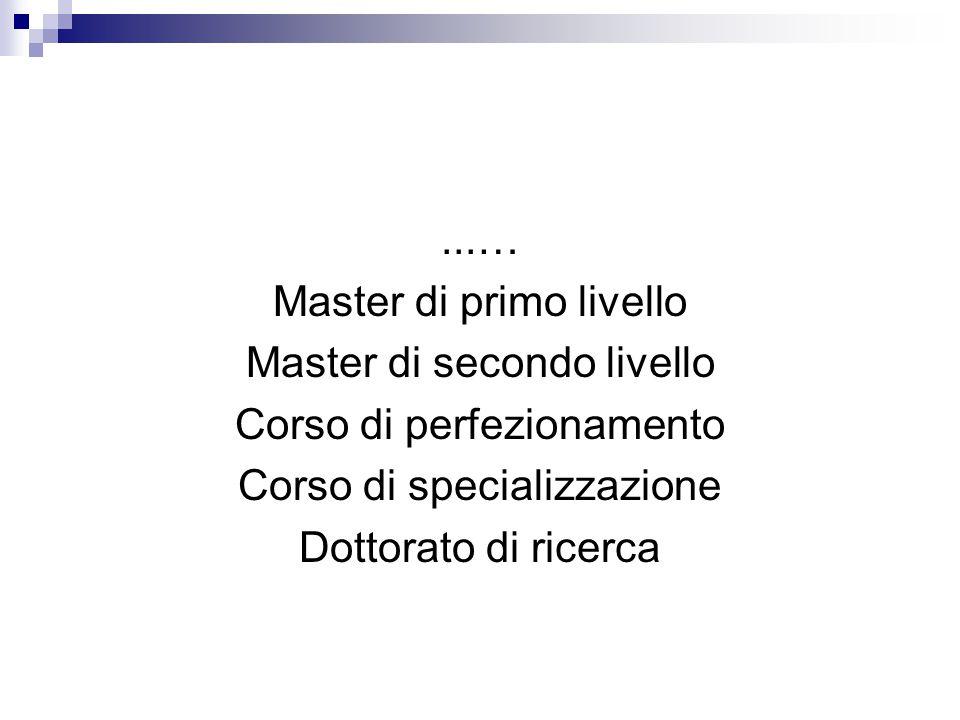 ...… Master di primo livello Master di secondo livello Corso di perfezionamento Corso di specializzazione Dottorato di ricerca