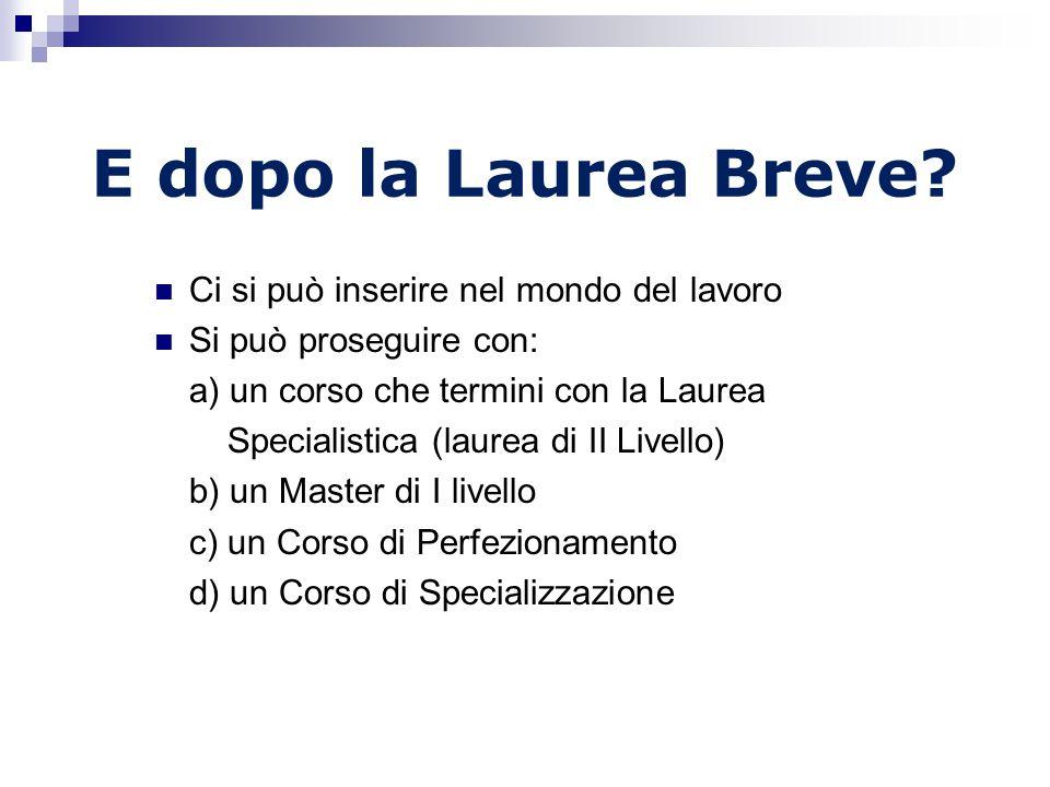 E dopo la Laurea Breve Ci si può inserire nel mondo del lavoro