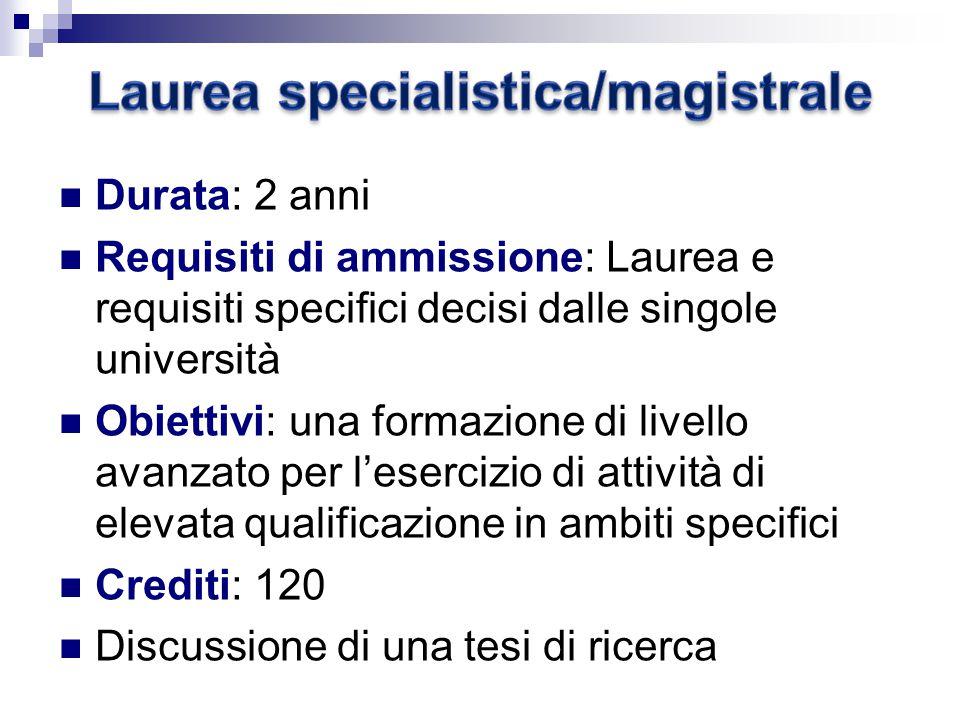 Laurea specialistica/magistrale