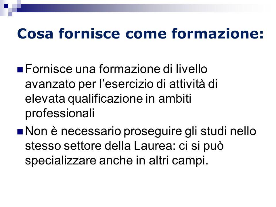 Cosa fornisce come formazione:
