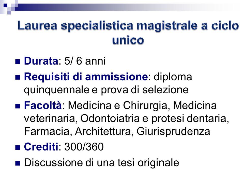 Laurea specialistica magistrale a ciclo unico