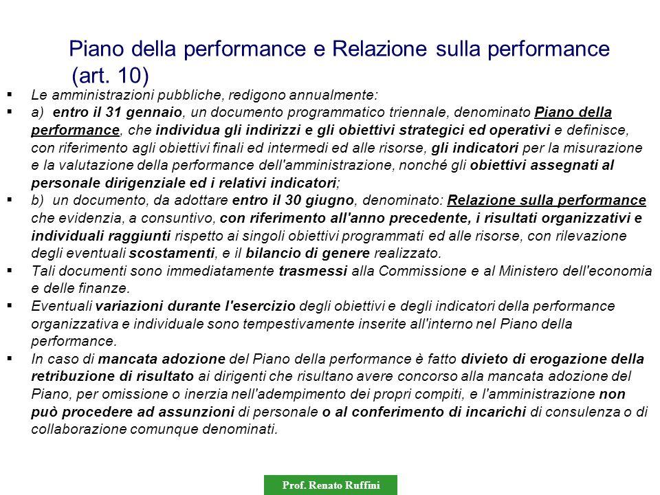 Piano della performance e Relazione sulla performance (art. 10)