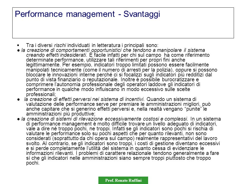 Performance management - Svantaggi