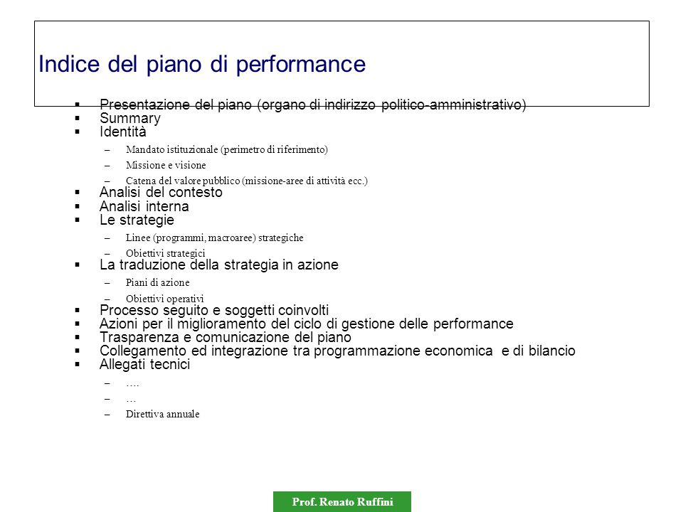 Indice del piano di performance