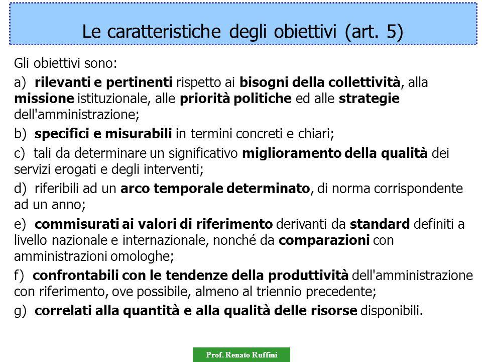 Le caratteristiche degli obiettivi (art. 5)