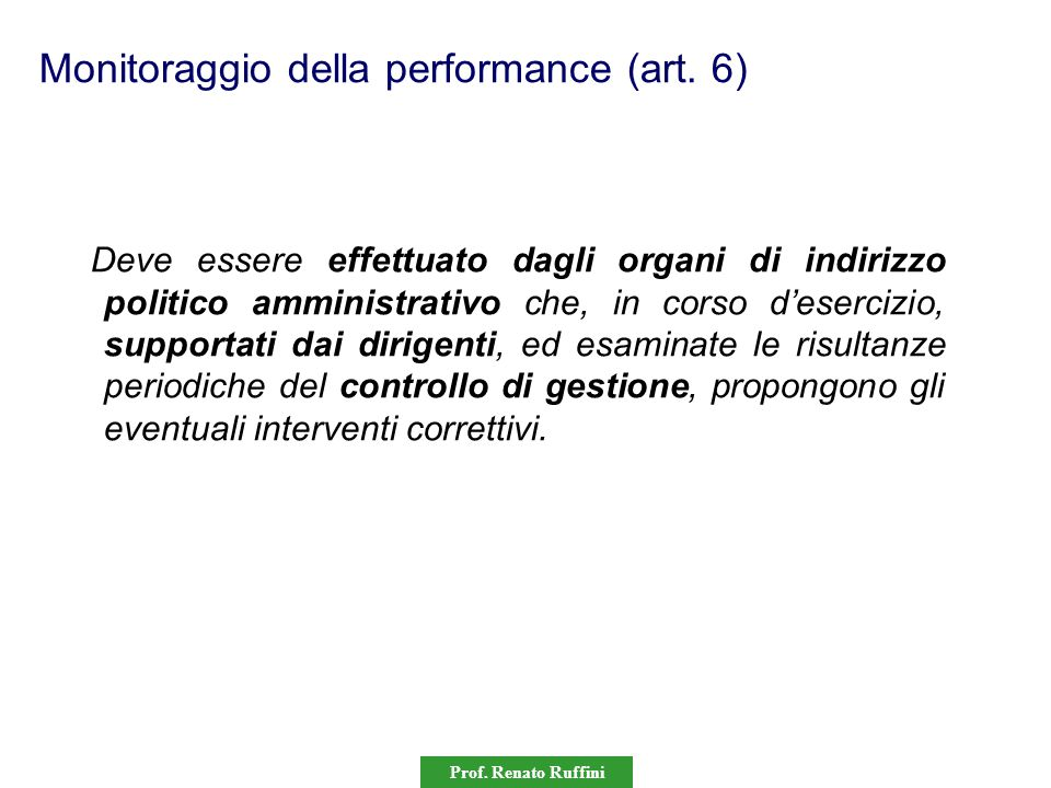 Monitoraggio della performance (art. 6)
