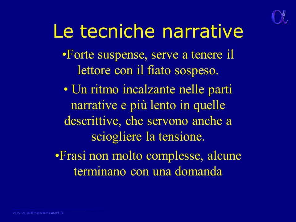 Le tecniche narrative Forte suspense, serve a tenere il lettore con il fiato sospeso.