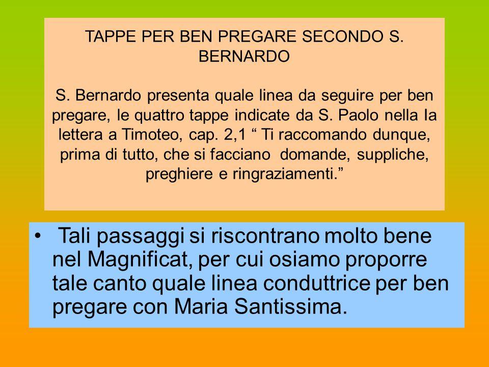 TAPPE PER BEN PREGARE SECONDO S. BERNARDO S