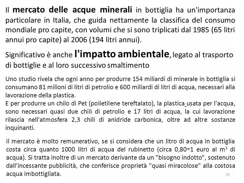 Il mercato delle acque minerali in bottiglia ha un importanza particolare in Italia, che guida nettamente la classifica del consumo mondiale pro capite, con volumi che si sono triplicati dal 1985 (65 litri annui pro capite) al 2006 (194 litri annui).
