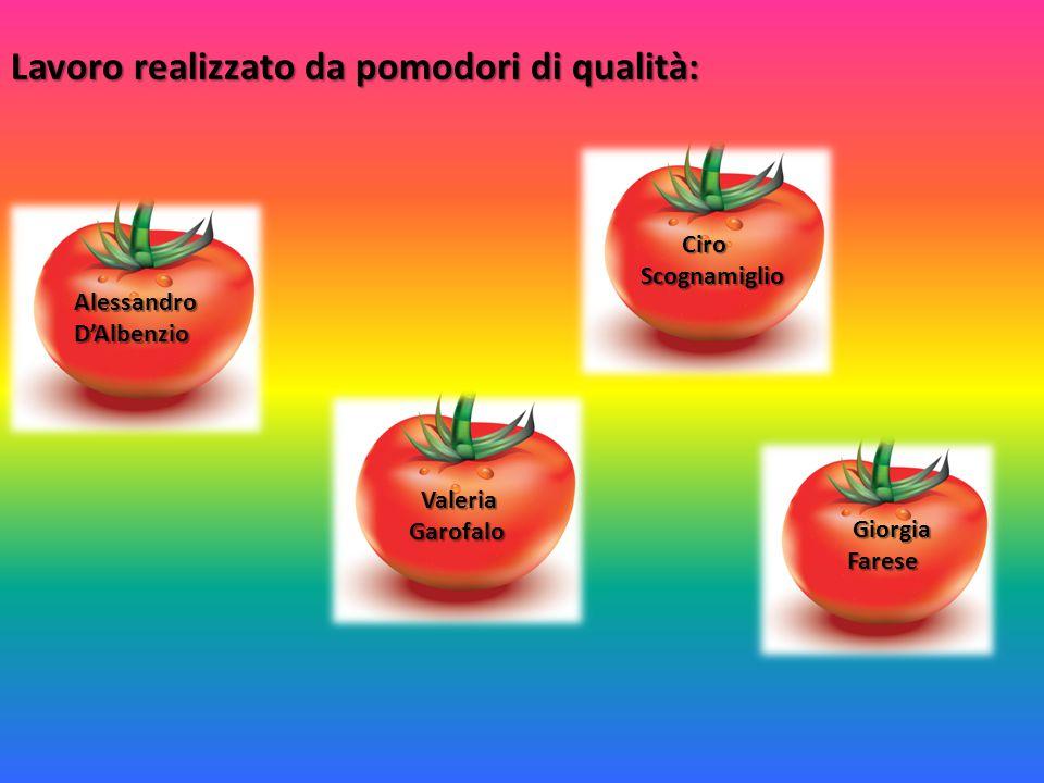 Lavoro realizzato da pomodori di qualità: