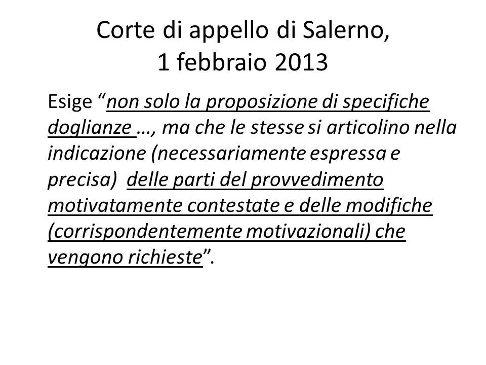 Corte di appello di Salerno, 1 febbraio 2013