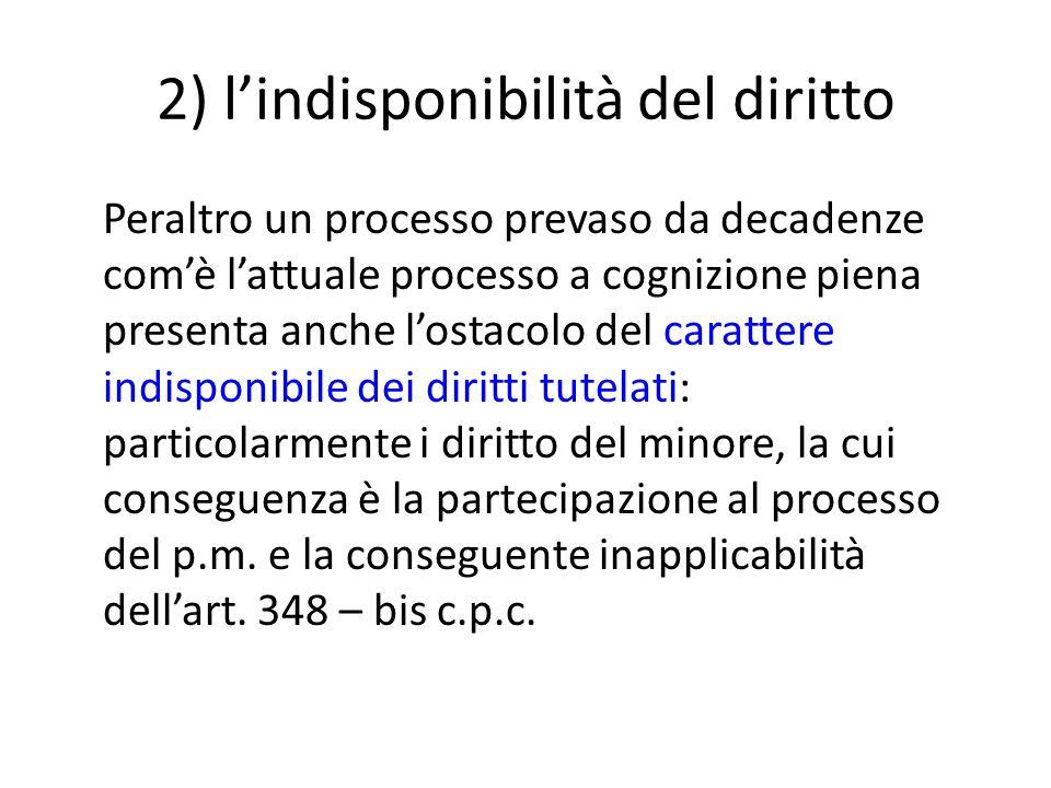 2) l'indisponibilità del diritto
