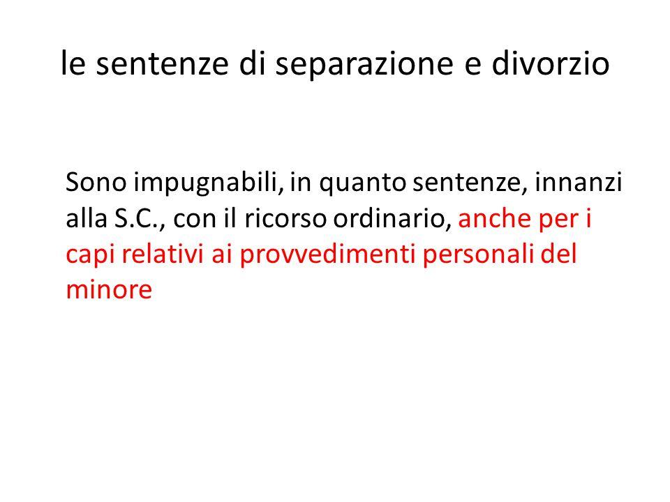 le sentenze di separazione e divorzio