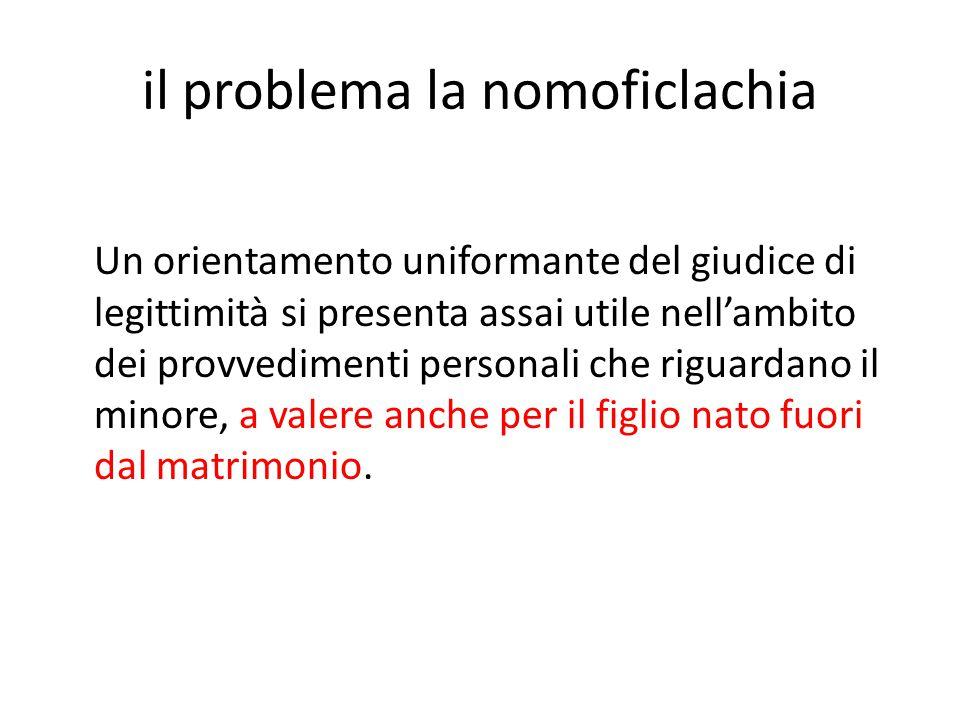 il problema la nomoficlachia