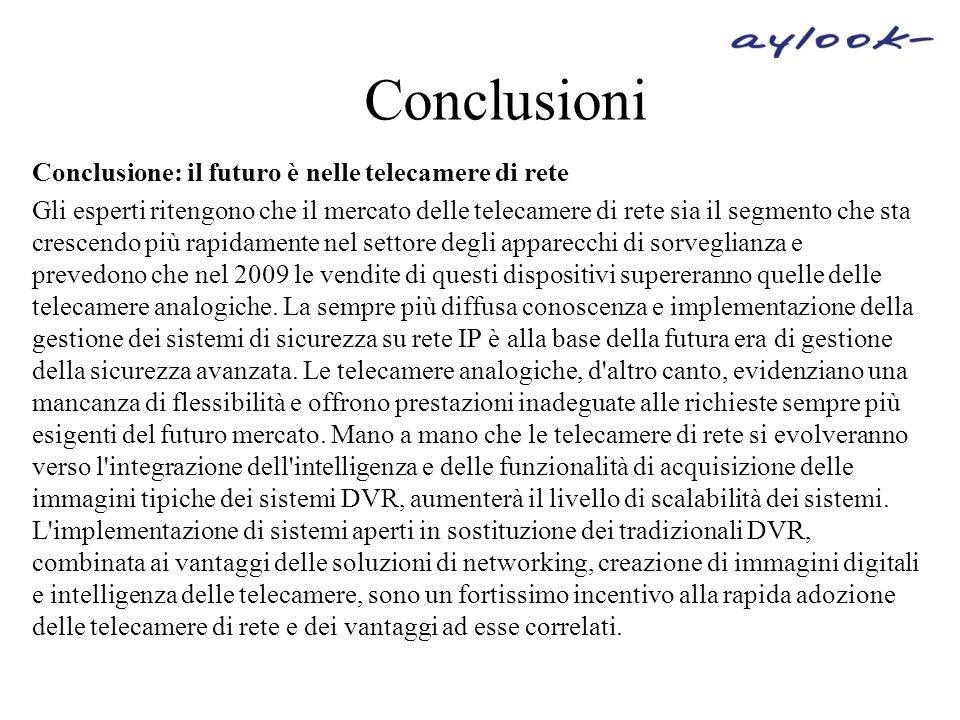 Conclusioni Conclusione: il futuro è nelle telecamere di rete
