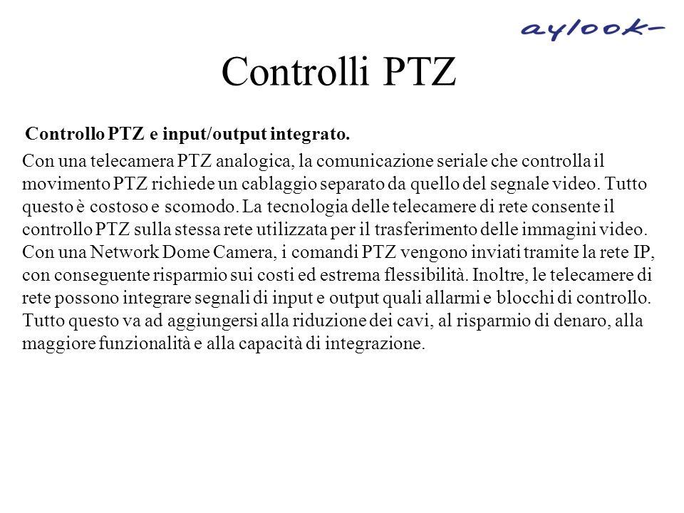 Controlli PTZ Controllo PTZ e input/output integrato.