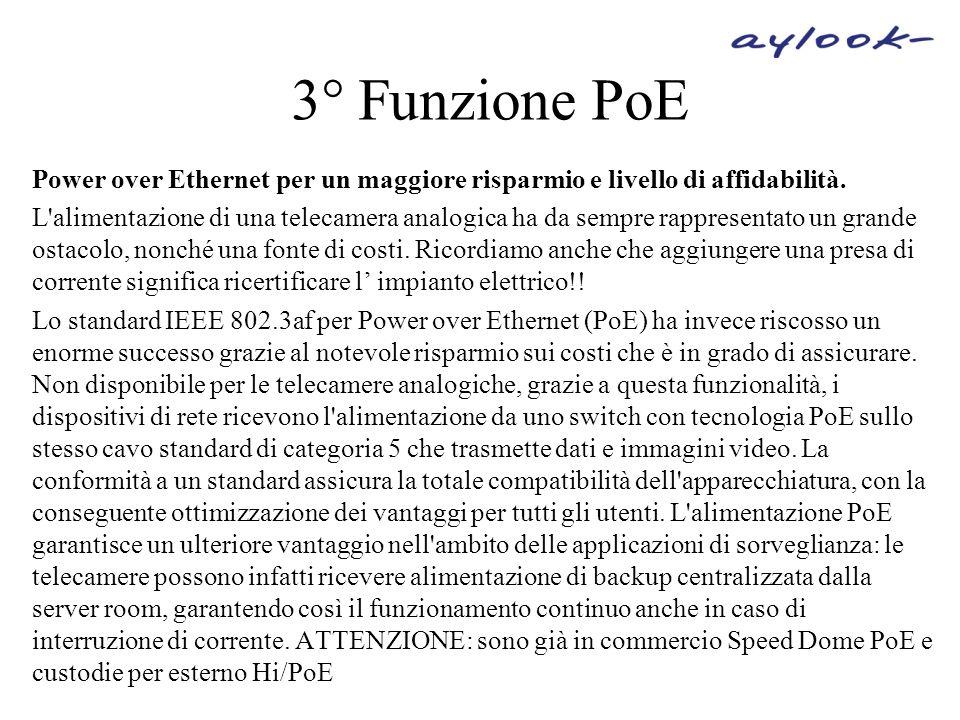 3° Funzione PoE Power over Ethernet per un maggiore risparmio e livello di affidabilità.