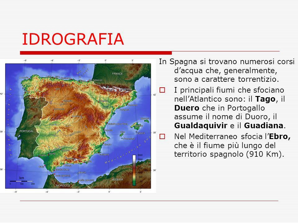 IDROGRAFIA In Spagna si trovano numerosi corsi d'acqua che, generalmente, sono a carattere torrentizio.