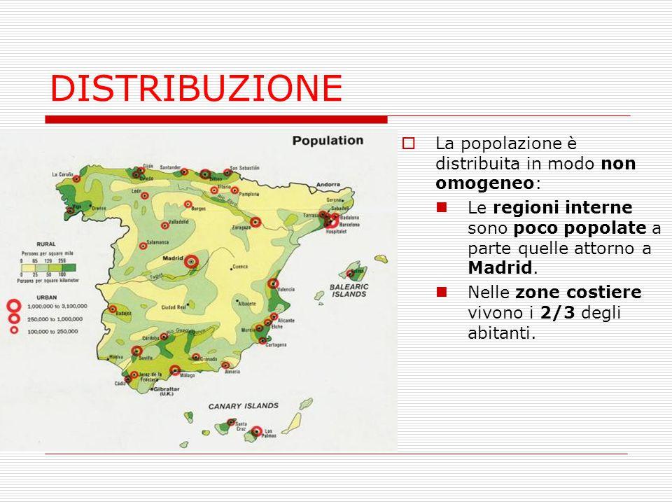 DISTRIBUZIONE La popolazione è distribuita in modo non omogeneo: