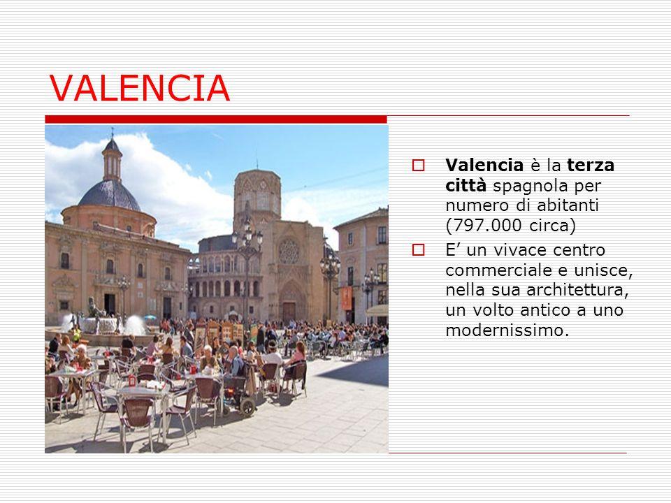 VALENCIA Valencia è la terza città spagnola per numero di abitanti (797.000 circa)
