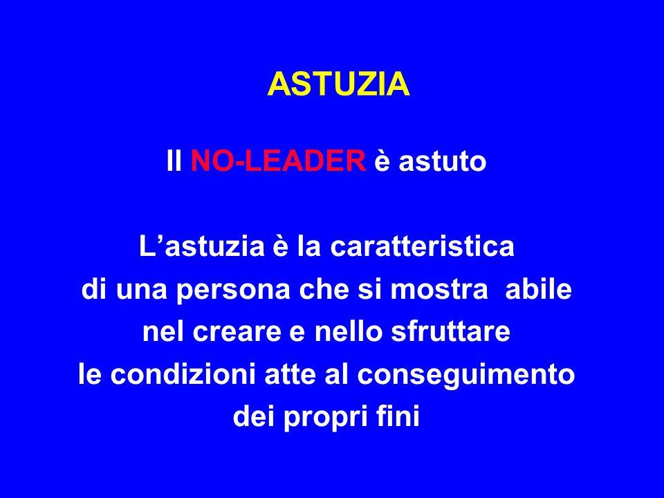 ASTUZIA Il NO-LEADER è astuto L'astuzia è la caratteristica
